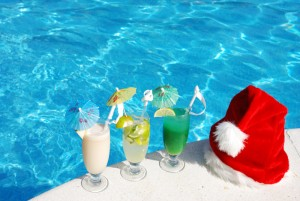 Pool with a Santa Hat